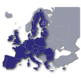 Europa och dess euromedlemmar Royaltyfria Foton