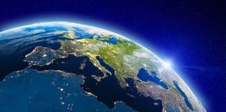 Europa od astronautycznych miast świateł zdjęcia royalty free