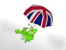 Europa onder de paraplu van het UK, Uitgang het Verenigd Koninkrijk van de Europese Unie stock afbeeldingen