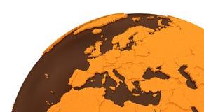 Europa op chocoladeaarde royalty-vrije illustratie