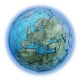 Europa op marmeren aarde Royalty-vrije Stock Afbeeldingen
