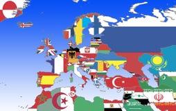 Europa - overzicht en vlaggen Stock Foto's
