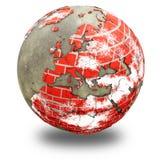 Europa på jord för tegelstenvägg Arkivbild