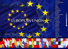 Europa - países e bandeiras da União Europeia Imagem de Stock