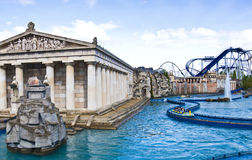 Europa Park, Germany - Greek themed area. View over the Greek themed area of Europa Park. Poseidon is a high-speed water coaster with incredibly detailed theming Stock Image