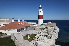 Europa pekar fyren i Gibraltar Fotografering för Bildbyråer