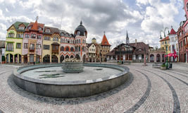 Europa place in city Komarno, Slovakia. KOMARNO, SLOVAKIA - APRIL 16: Europa place square in centre of city on April 16, 2017 in Komarno Royalty Free Stock Photography