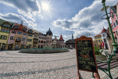 Europa place in city Komarno, Slovakia. KOMARNO, SLOVAKIA - APRIL 16: Europa place square in centre of city on April 16, 2017 in Komarno Stock Photography