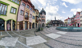Europa place in city Komarno, Slovakia. KOMARNO, SLOVAKIA - APRIL 16: Europa place square in centre of city on April 16, 2017 in Komarno Royalty Free Stock Image