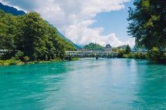 Europa pociąg w Interlaken miasteczku Fotografia Royalty Free
