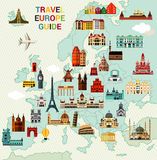 Europa podróży mapa Obrazy Stock