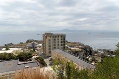 Europa Point in Gibraltar, a British overseas territory. The Europa Point in Gibraltar seen from the Rock of Gibraltar overlooking the strait of Gibraltar Stock Photos