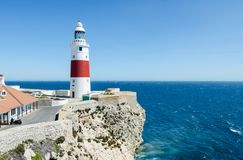 Europa Point Lighthouse Trinity Lighthouse or Victoria Tower on the cliff. British Overseas Territory of Gibraltar. Royalty Free Stock Photo