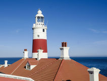 Europa Point Lighthouse (Trinity Lighthouse or Victoria Tower). Gibraltar. Stock Photo
