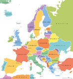 Europa pojedynczych stanów polityczna mapa Zdjęcia Stock