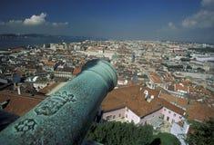 EUROPA PORTUGAL LISSABON BAIXA CASTELO Royaltyfri Fotografi
