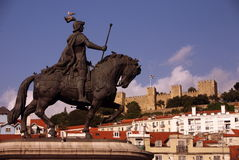 EUROPA PORTUGAL LISSABON BAIXA CASTELO royaltyfri foto