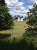 Europa, Regno Unito, Inghilterra, Londra, orizzonte da Greenwich Fotografie Stock