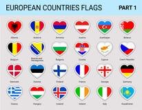 Europa sjunker klistermärkeuppsättningen Vektorsamlingen av den nationella europén sjunker med namnet av landet Moderna isolerade royaltyfri illustrationer