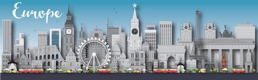 Europa-Skylineschattenbild mit verschiedenen Marksteinen Stockfoto