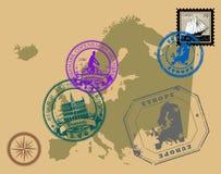 Europa stämplar tema vektor illustrationer