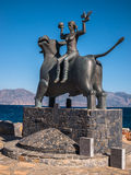 Europa Statue in Agios Nikolaos, Crete, Greece. Royalty Free Stock Photo