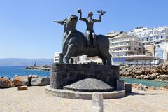Europa Statue in Agios Nikolaos, Crete, Greece. Europa Statue in the Agios Nikolaos Crete, Greece Stock Photo