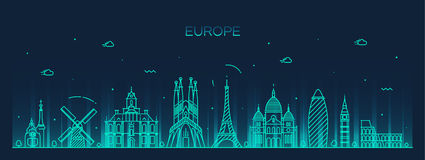 Europa sylwetki kreskowej sztuki linia horyzontu wyszczególniający styl Fotografia Royalty Free