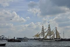 The Europa tall ship on the Ij river Stock Photography