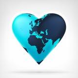 Europa und Afrika bedeckt die Kugel mit Erde, die als Herz am modernen Grafikdesign geformt wird Lizenzfreie Stockfotografie