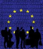 Europa (unión europea) que cierra sus fronteras debido al crisi migratorio ilustración del vector
