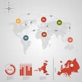 EUROPA världskarta Royaltyfria Bilder