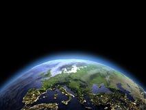 Europa van ruimte bij dageraad royalty-vrije illustratie