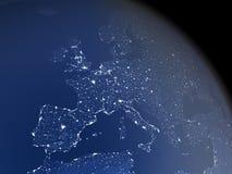 Europa van ruimte bij nacht Stock Afbeelding