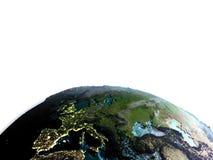 Europa van ruimte in de ochtend royalty-vrije illustratie