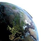 Europa van ruimte in de ochtend stock illustratie
