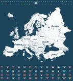 Europa-Vektor führte hoch politische Karte mit Regionsgrenzen und allen Europäerflaggen einzeln auf lizenzfreie abbildung