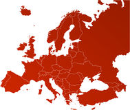 Europa-vektorkarte Stockfotos