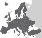 Europa-vektorkarte Stockfotografie