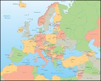 Europa översiktsvektor Fotografering för Bildbyråer