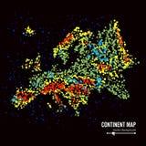 europa Vettore del fondo dell'estratto della mappa del continente Formato da Dots Isolated On Black variopinto Fotografie Stock