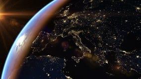 Europa y África en la noche ilustración del vector