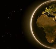 Europa y África en la noche Imagenes de archivo