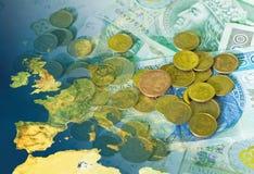 Europa y dinero imagen de archivo
