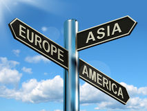 Europaasien Amerika Signpost vektor abbildung
