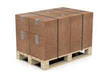 Europallets con las cajas llenas de material reciclado, atadas con una cinta ilustración 3D libre illustration