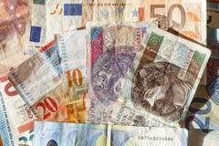 Europan valutor, räkningar royaltyfria foton
