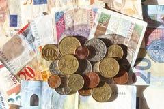 Europan Währungen, Rechnungen und Choins Lizenzfreie Stockbilder