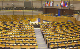 Europaparlamentethemicyclen arkivbild