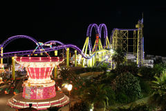 Europark Amusement Park. Nightshot of Europark, summer amusement park at Vias Plage, Fance stock photography